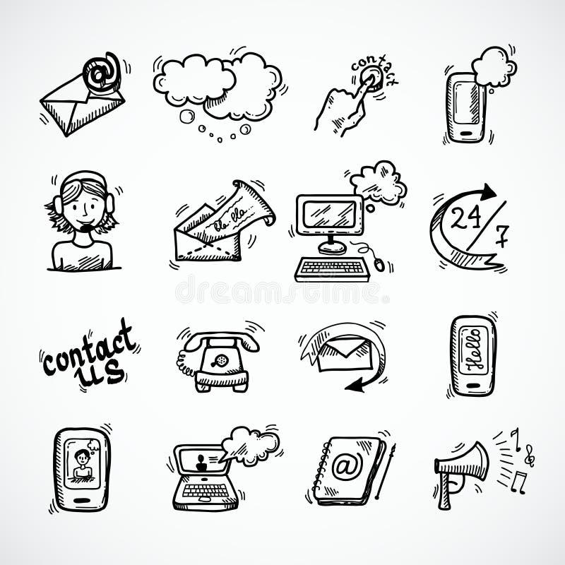 Éntrenos en contacto con bosquejo de los iconos ilustración del vector