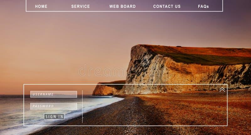 Éntrenos en contacto con contraseña del miembro de los FAQ Muestra-en concepto del homepage foto de archivo