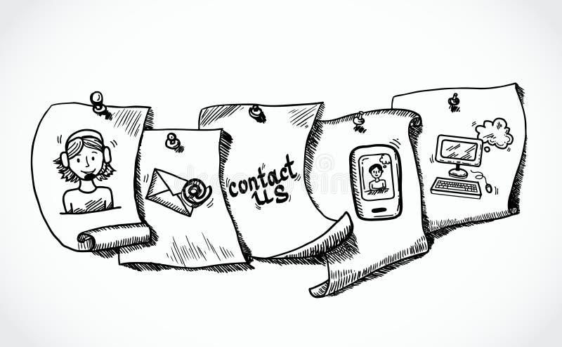 Éntrenos en contacto con el bosquejo de papel de las etiquetas de los iconos ilustración del vector