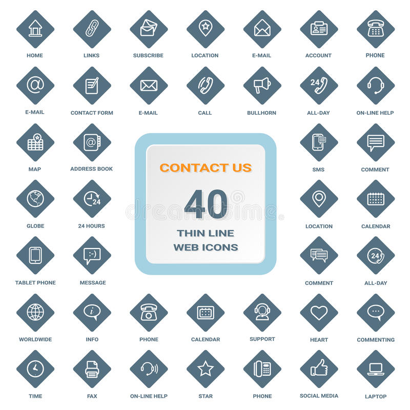 Éntrenos en contacto con - el sistema de la línea fina iconos del web en un Rhombus blinda aislado en un fondo Sistema del icono stock de ilustración