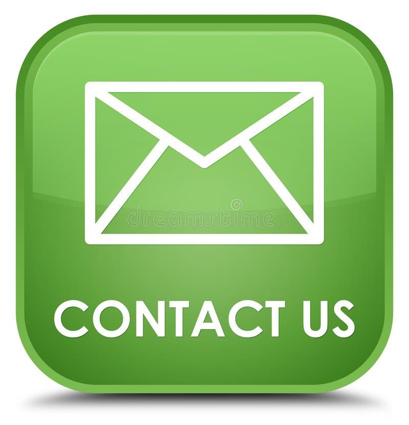 Éntrenos en contacto con (icono del correo electrónico) botón cuadrado verde suave especial imagen de archivo libre de regalías