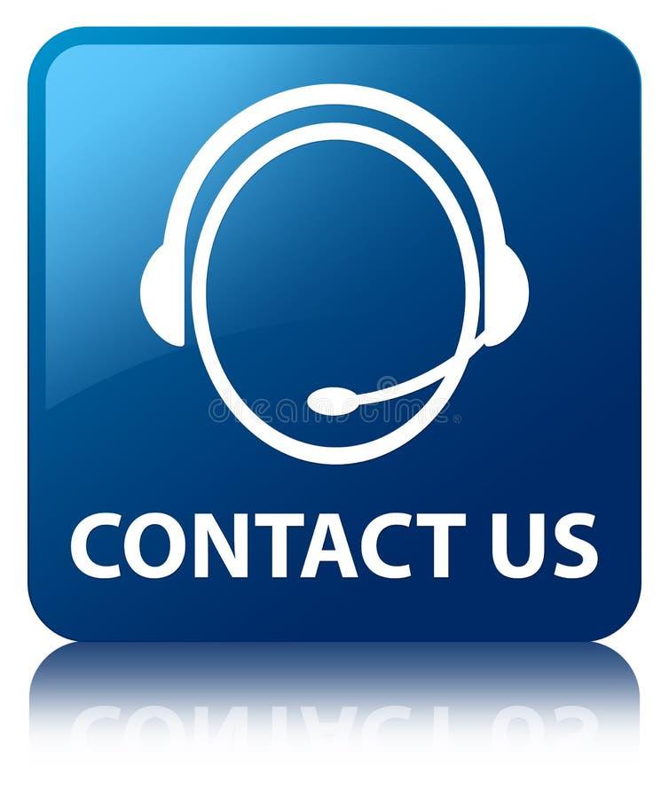 Éntrenos en contacto con (icono del cuidado del cliente) botón cuadrado azul stock de ilustración