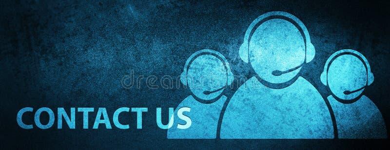Éntrenos en contacto con (icono del equipo del cuidado del cliente) backgro azul especial de la bandera foto de archivo