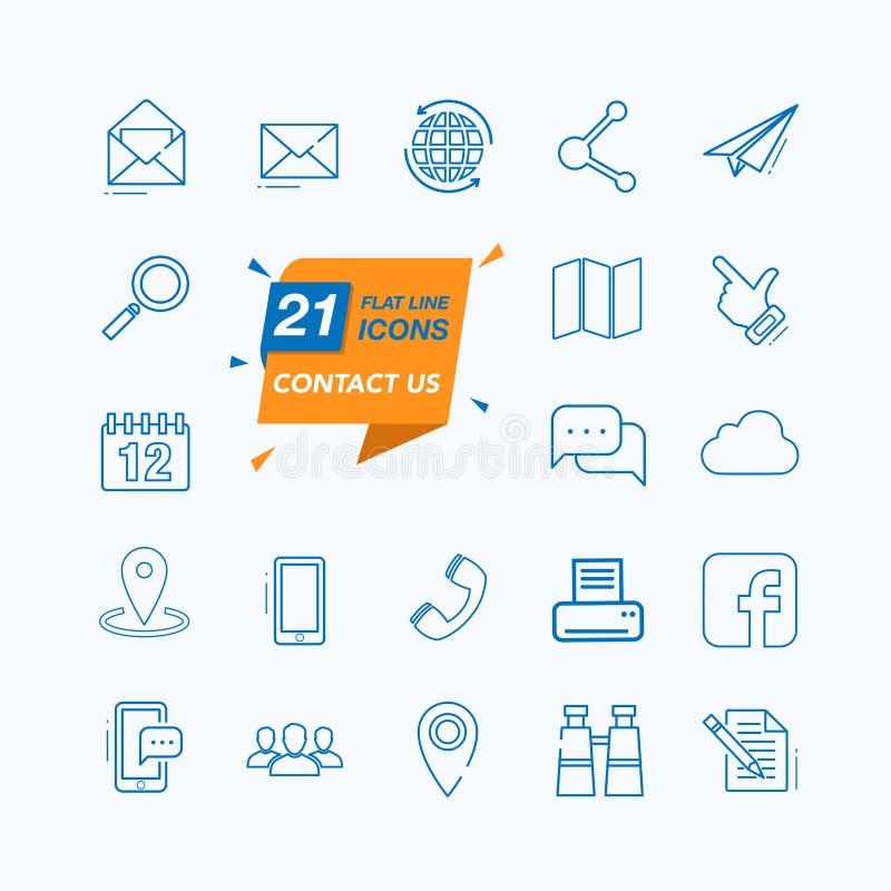 Éntrenos en contacto con - línea fina mínima sistema del icono del web stock de ilustración
