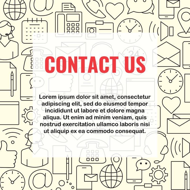 Éntrenos en contacto con línea iconos fijados ilustración del vector