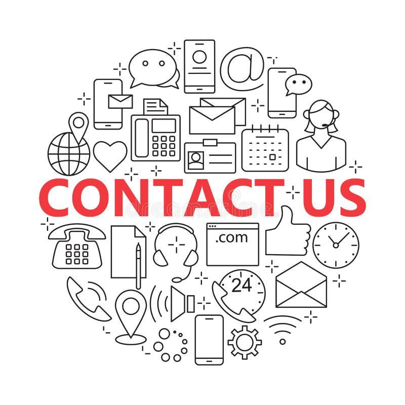 Éntrenos en contacto con línea iconos Sistema del concepto de la ayuda libre illustration