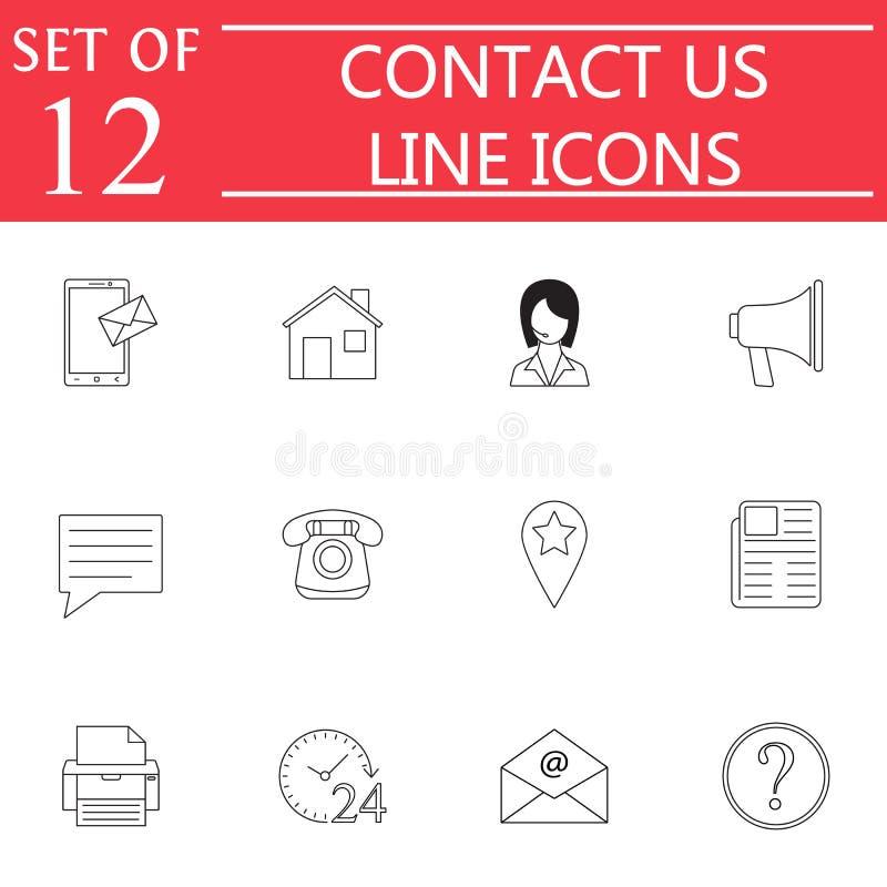 Éntrenos en contacto con línea sistema del icono, muestras de la comunicación del web ilustración del vector