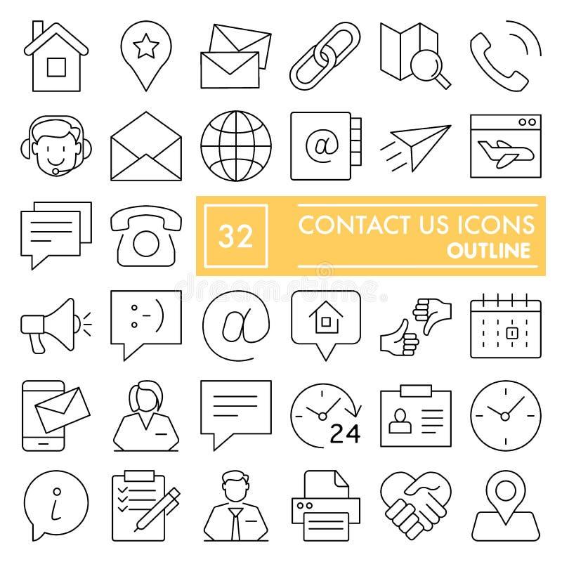 Éntrenos en contacto con línea sistema del icono, símbolos colección, bosquejos del vector, ejemplos del logotipo, muestras de la stock de ilustración