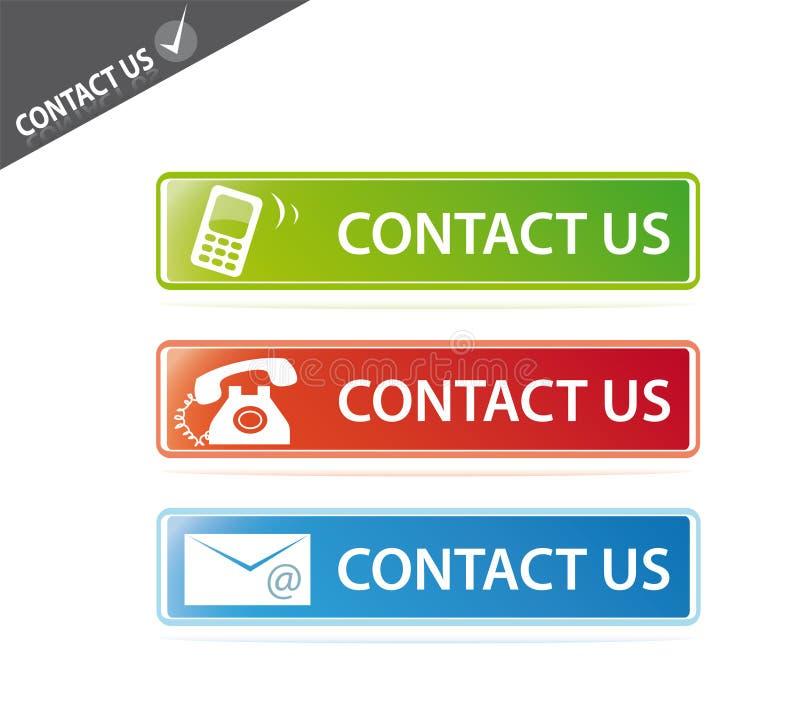 Éntrenos en contacto con los botones del Web site ilustración del vector