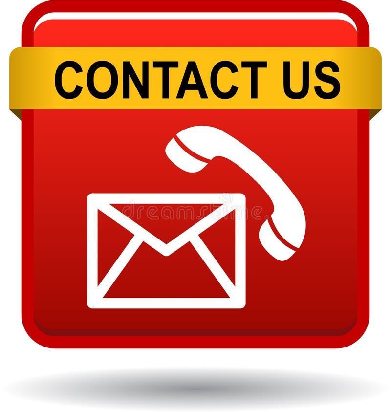 Éntrenos en contacto con los iconos de la llamada de correo del botón rojos stock de ilustración