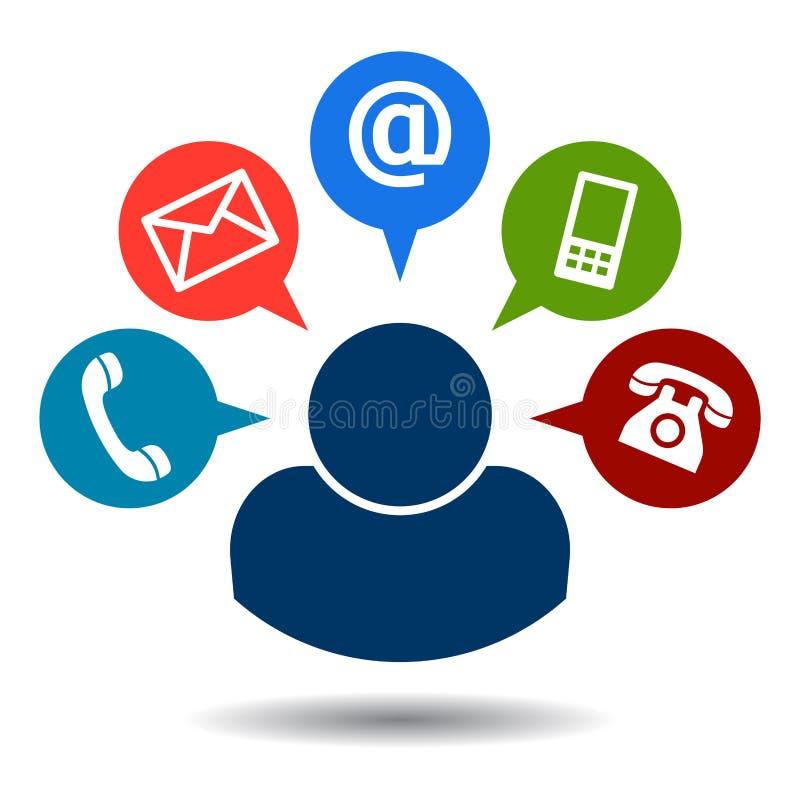 Éntrenos en contacto con los iconos del correo de la llamada libre illustration