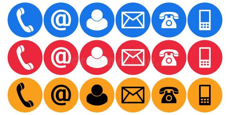 Éntrenos en contacto con los iconos del llano del correo de la llamada stock de ilustración