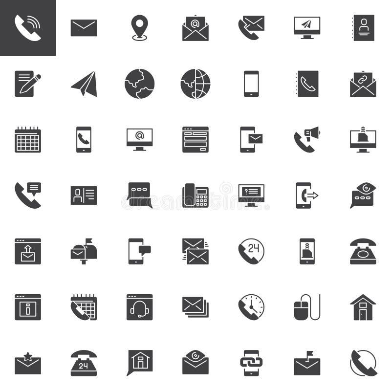 Éntrenos en contacto con los iconos del vector fijados libre illustration