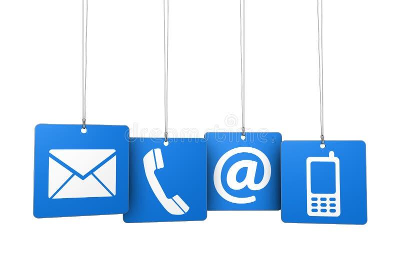 Éntrenos en contacto con los iconos del web en etiquetas azules libre illustration