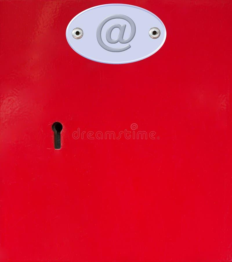 Éntrenos en contacto con los rectángulos de la oficina de correos rojos con el email fotos de archivo