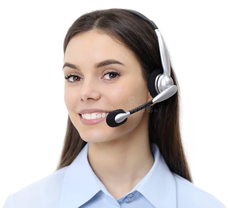 Éntrenos en contacto con, mujer del operador del servicio de atención al cliente con la sonrisa de las auriculares foto de archivo