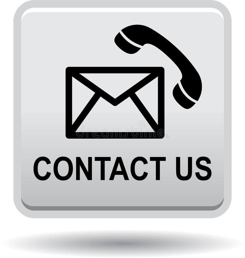 Éntrenos en contacto con plata del gris de los iconos de la llamada de correo del botón stock de ilustración