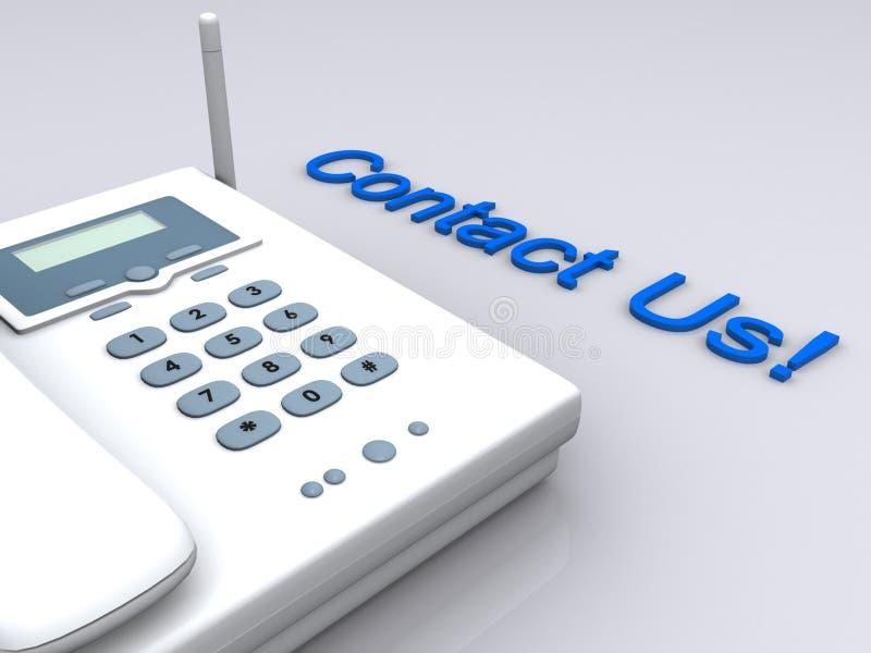 Éntrenos en contacto con por el teléfono stock de ilustración