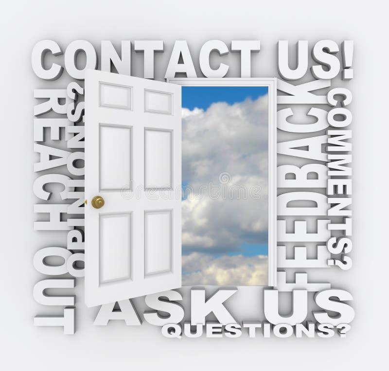 Éntrenos en contacto con servicio de atención al cliente de la puerta de la palabra ilustración del vector