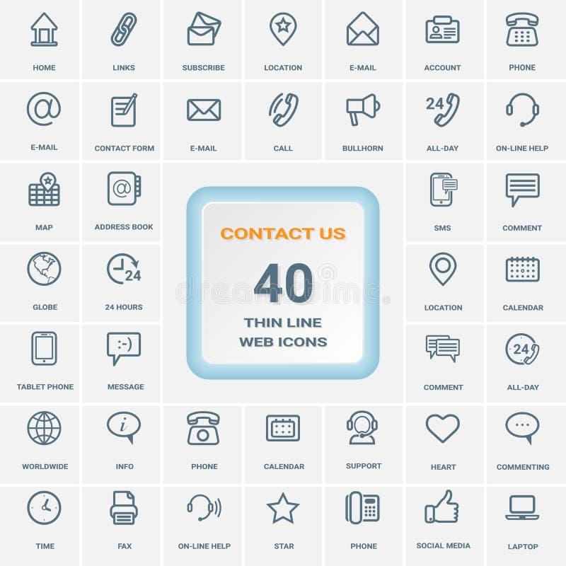 Éntrenos en contacto con - sistema de la línea fina iconos del web aislados en un fondo Sistema del icono stock de ilustración