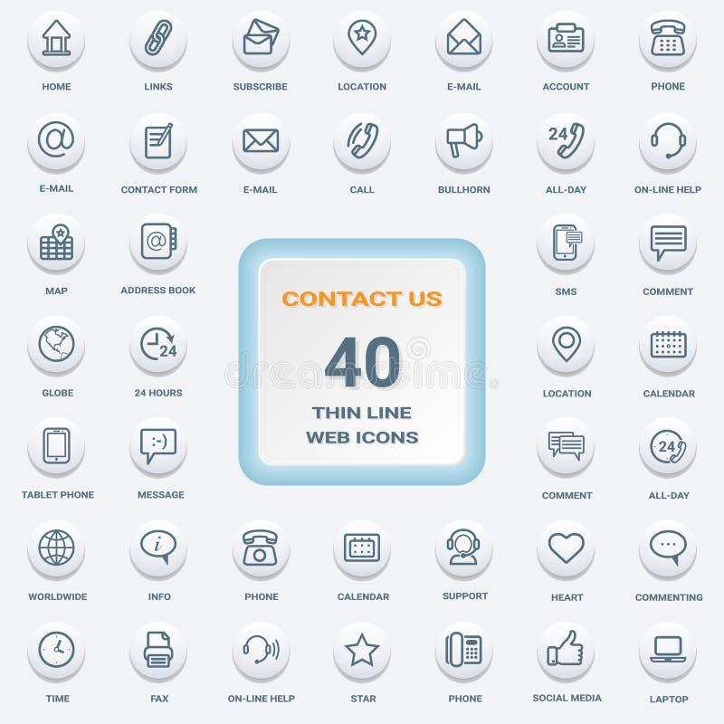 Éntrenos en contacto con - sistema de la línea fina plana redonda blanca iconos del web aislados en un fondo Sistema del icono stock de ilustración
