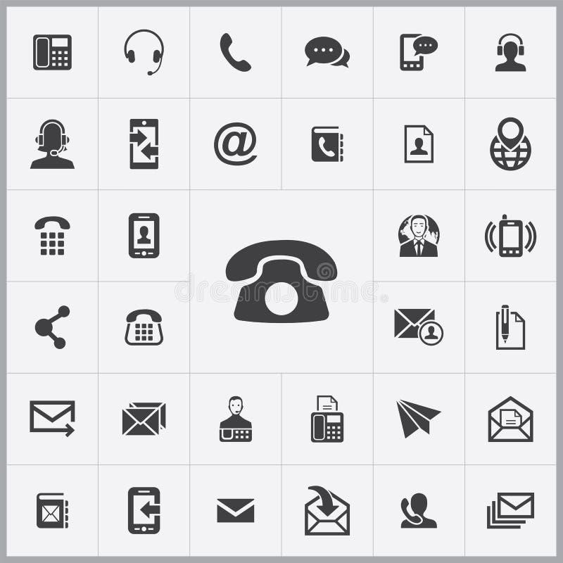 Éntrenos en contacto con sistema universal de los iconos stock de ilustración