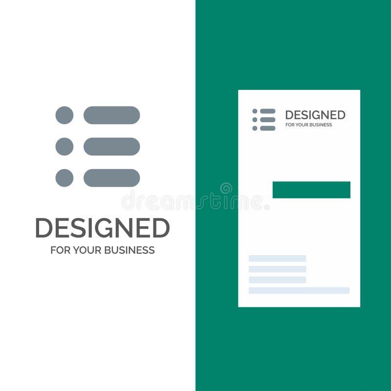 Énumérez, chargez, textotez, écrivez Grey Logo Design et le calibre de carte de visite professionnelle de visite illustration de vecteur