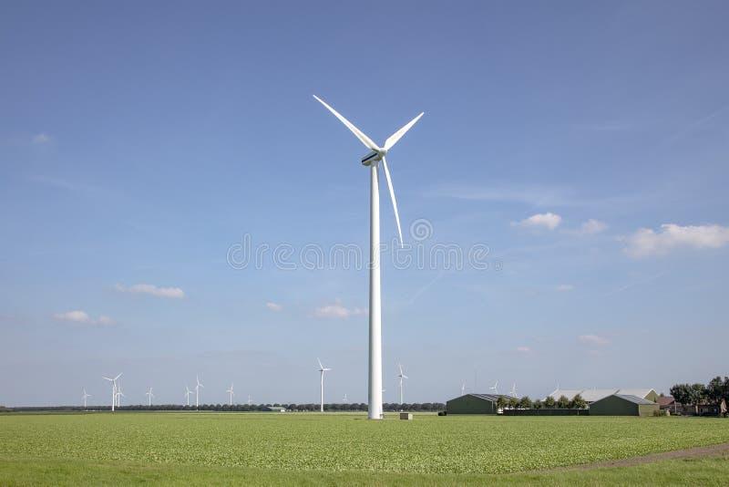 Éoliennes dans un champ d'Almere, Pays-Bas, utilisant le vent pour produire de l'électricité photographie stock