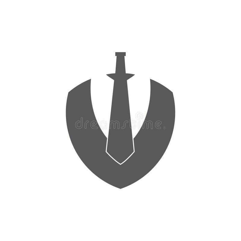 Épée abstraite et protéger le vecteur géométrique de logo illustration libre de droits