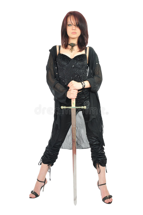 Épée attrayante de prise de fille dans des ses mains photo libre de droits