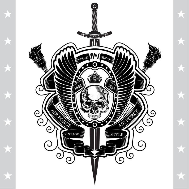 Épée avec la vue de face de crâne sans mâchoire inférieure au centre entre les ailes et les torches croisées Le label héraldique  illustration libre de droits