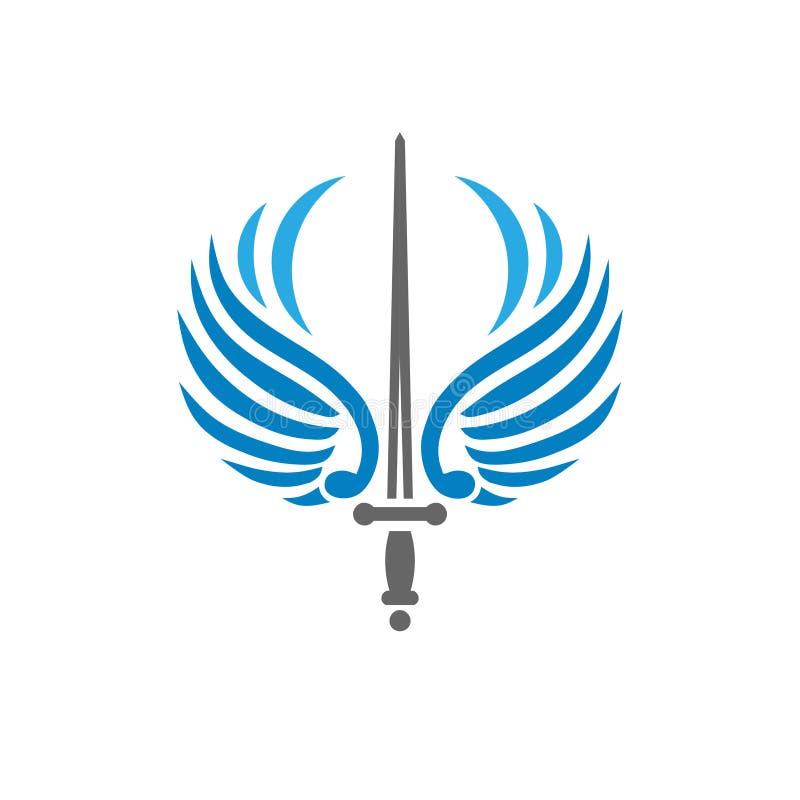 Épée créative avec des ailes d'oiseau illustration de vecteur