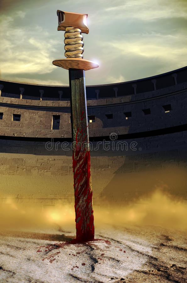 Épée dans le sable illustration de vecteur