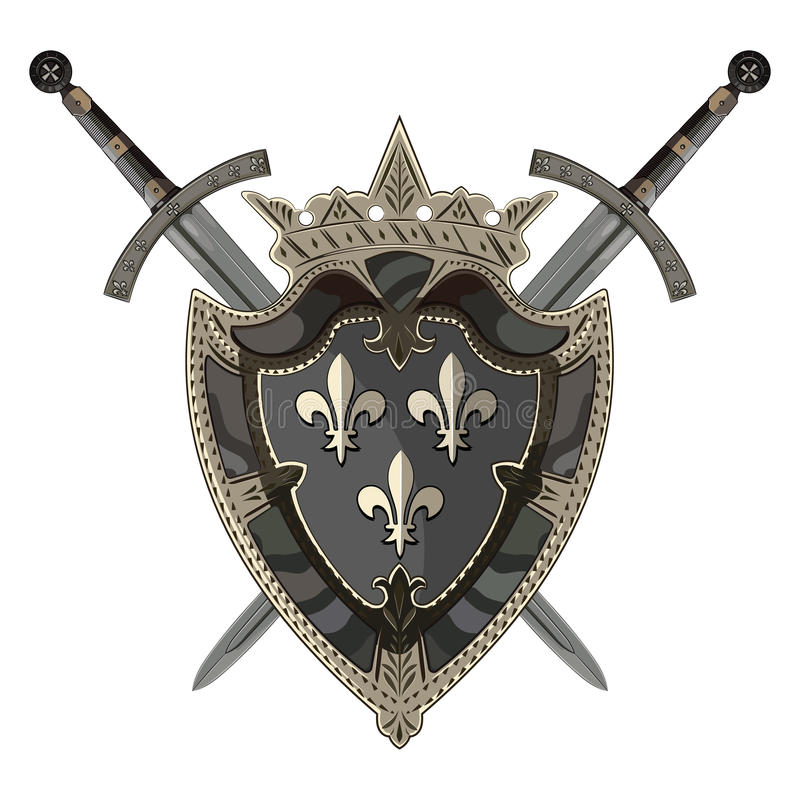 Épée de chevalier Deux ont croisé le chevalier de l'épée et du bouclier héraldique médiéval illustration libre de droits