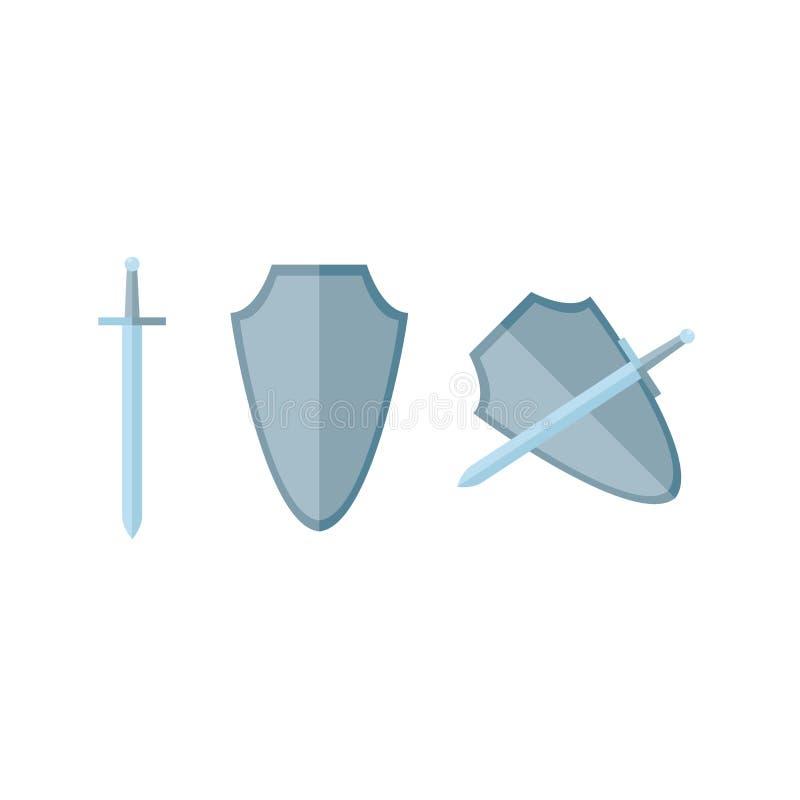 Épée et bouclier dans l'appartement illustration libre de droits