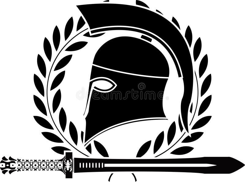 Épée et casque helléniques d'imagination illustration stock