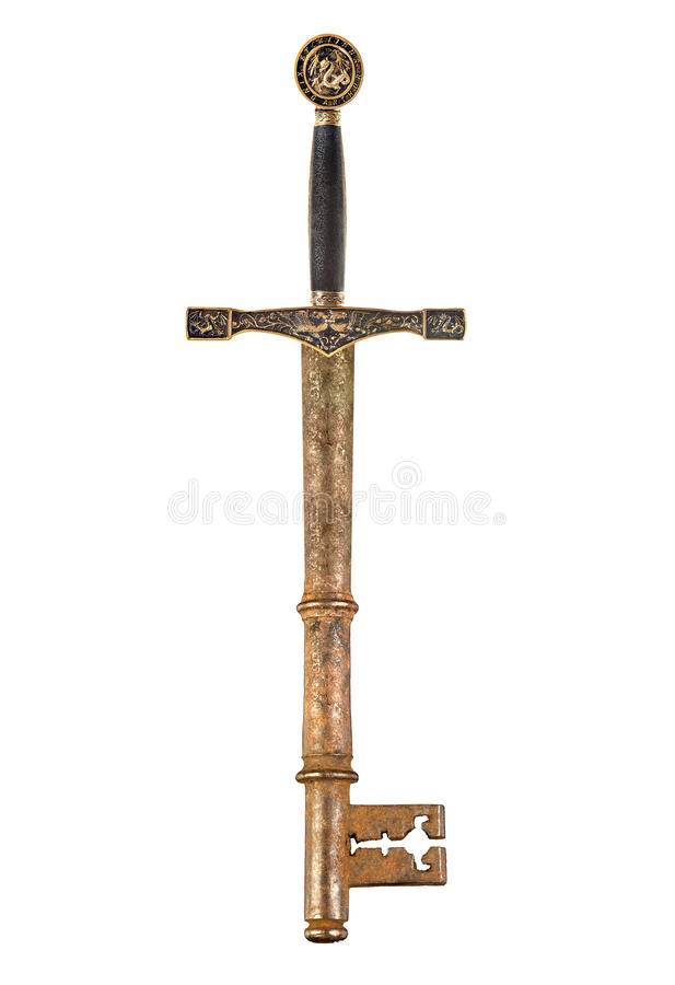 Épée et clé photo libre de droits
