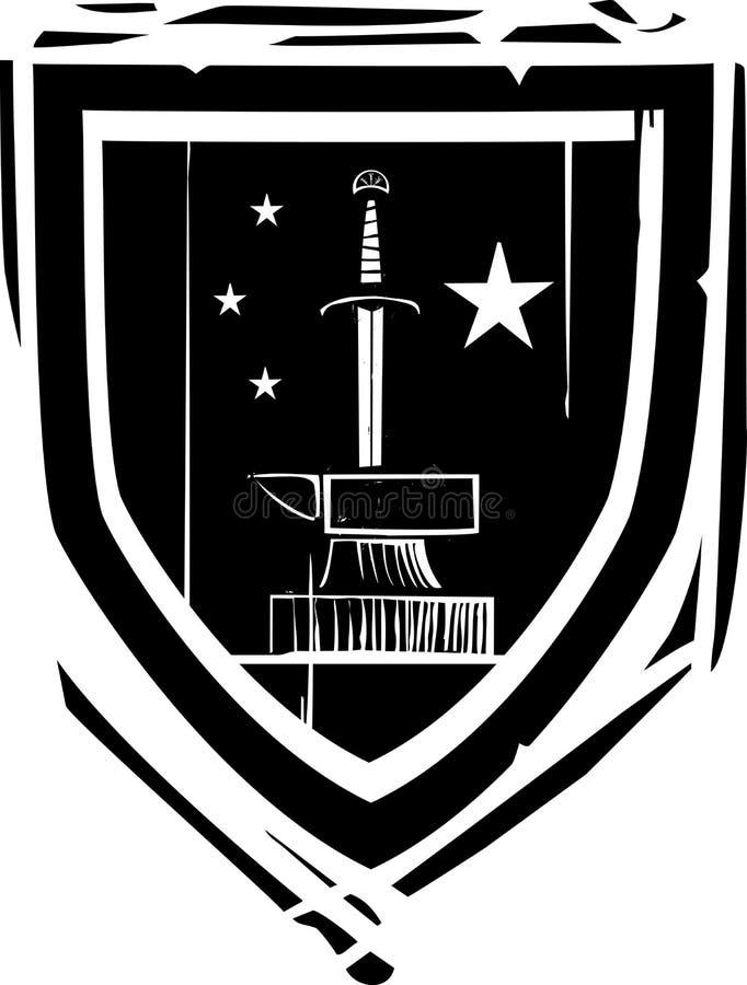 Épée et enclume héraldiques de bouclier illustration stock