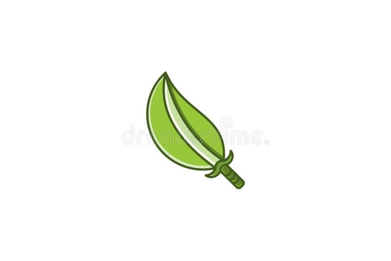 épée et feuille Logo Designs Inspiration, illustration de vecteur illustration stock