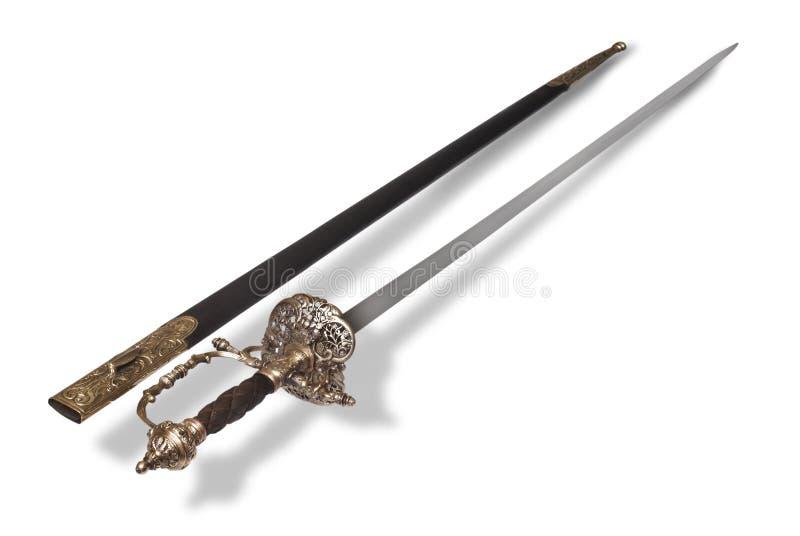 épée française de rapière d'officier de gala photographie stock
