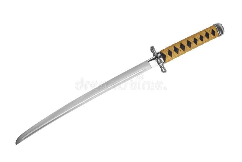 Épée Japonaise De Samouraï Avec Une Encre Jaune-noire Photographie stock