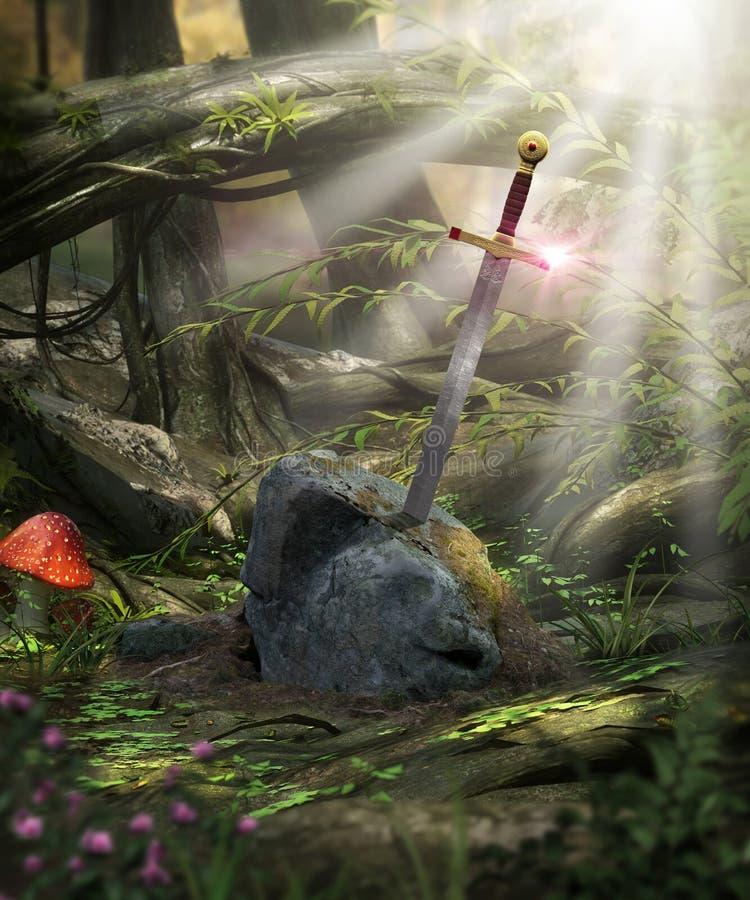 Épée légendaire Excalibur illustration stock
