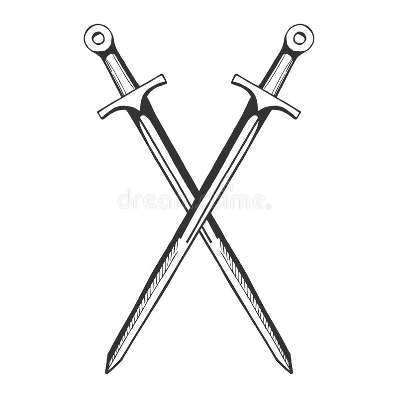 Épées croisées par chevalier médiéval illustration libre de droits