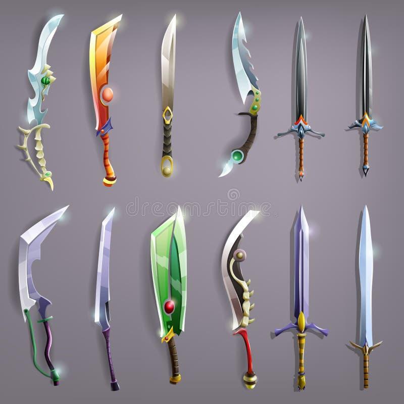 Épées de vecteur réglées illustration stock