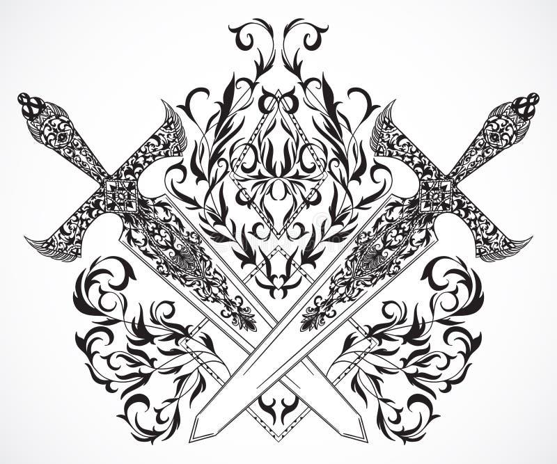 Épées médiévales croisées avec l'ornement Tatouage Art illustration de vecteur