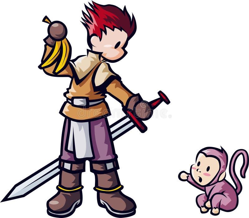 Épéiste avec le singe illustration libre de droits