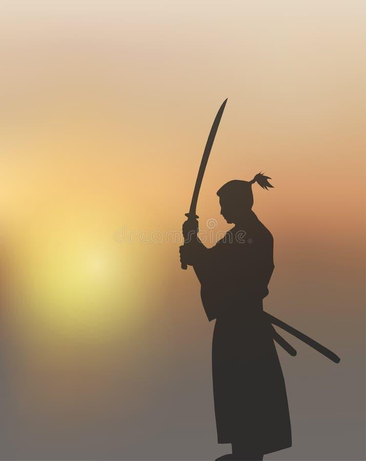 Épéiste japonais sous The Sun illustration libre de droits
