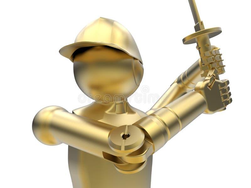 Épéiste mécanique d'or illustration stock