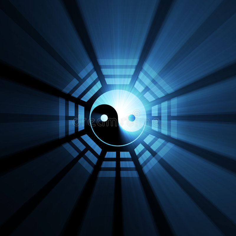 Épanouissement bleu de symbole de Yin Yang Bagua illustration libre de droits