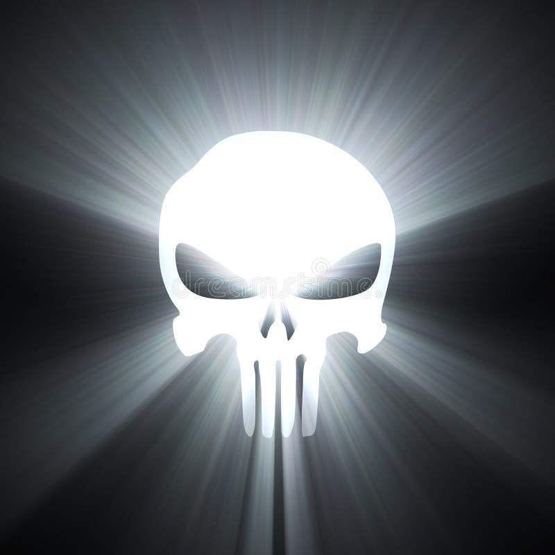 Épanouissement de lumière blanche de symbole de crâne illustration stock